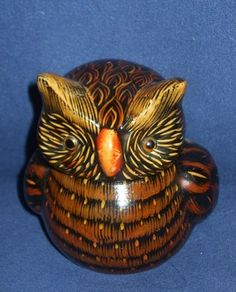 Brown Pottery Owl Covered Small Bowl
