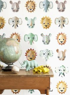 Make one special photo charms for your pets, 100% compatible with your Pandora bracelets.  Wild Animals children wallpaper by Studio Ditte