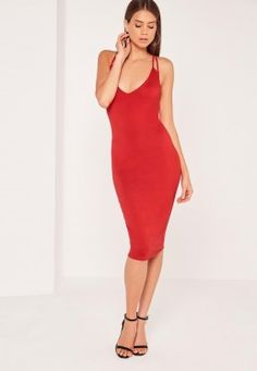 Double Strap Cross Back Plunge Midi Dress Red