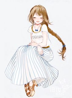 ✮ ANIME ART ✮ clothes. . .cute fashion. . .skirt. . .stripes. . .t shirt. . .sandals. . .jewelry. . .long hair. . .braid. . .hair ribbon. . .smile. . .cute. . .kawaii