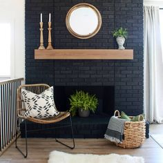 Transforming homes one at a time. Mantle Styling, Fixer Upper House, Black Fireplace, Brick, Homes, Painting, Home Decor, Style, Swag