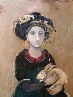 "Saatchi Art Artist Minas Halaj; Collage, """"Girl With Rabbit"" (SOLD)"" #art"