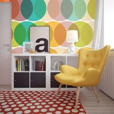 """Geometric Circles"" #wallmural from ""10 Easy Ways to Get Mid-Century Style in Your Home #PIXERS"