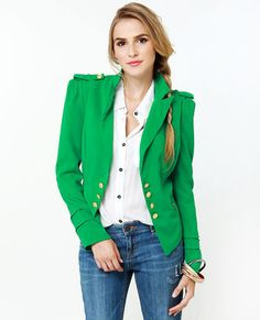 Cash Cropped Green Jacket love the shoulders!
