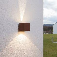 Rostbraune LED-Außenwandleuchte Jarno, Würfelform