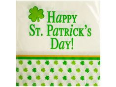 """Happy St. Patrick's Day Beverage Napkins, 48 - Perfect for celebrations, this 18-piece Happy St. Patrick's Day Beverage Napkins Set features 2-ply green, white and yellow napkins with the words """"Happy St. Patrick's Day"""", green and yellow stripes and a shamrock print. Each napkin measures approximately 9 4/5"""" x 9 3/4"""". Comes packaged in a poly bag.-Weight: 0.1667/unit"""