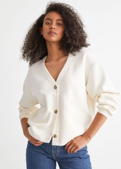 Oversized Cardigan - White - Cardigans - & Other Stories GB