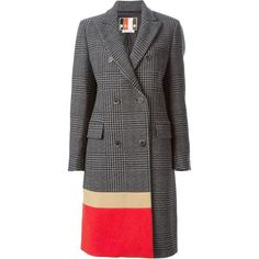 MSGM Prince of Wales check coat (462.835 CLP) ❤ liked on Polyvore featuring outerwear, coats, пальто, msgm, long sleeve coat and double breasted coat
