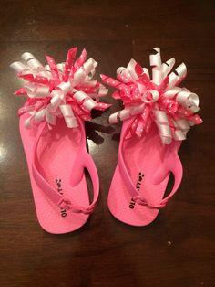 Pink and white polka dot korker flip flops by CreationsbySAHM on Etsy https://www.etsy.com/listing/199607090/pink-and-white-polka-dot-korker-flip