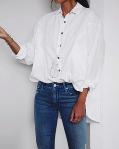 pin: beadedcrown  Top  Shirt  Blouse  White  Long sleeve  Rolled up  Tucked in  Jeans  Denim  Blue  True  Bracelet  Gold  Silver  Delicate  Dainty  Thin  Ring  Multiple  Summer  Spring  Fall  Autumn  P421