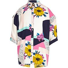 RI £16 Girls white floral print shirt