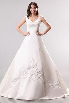 Spaghetti Strap Satin White Wedding Dresses ted0718 - SILHOUETTE: A-Line; FABRIC: Satin; EMBELLISHMENTS: Embroidery , Draped; LENGTH: Chapel Train - Price: 153.6300 - Link: http://www.theeveningdresses.com/spaghetti-strap-satin-white-wedding-dresses-ted0718.html