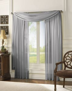 window curtains | ... Curtains - Curtain Works - Delray Chiffon Sheer Tailored Curtain Panel