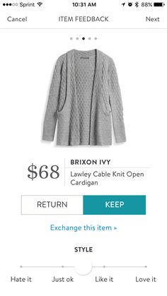 Oh how I wanted to keep this. It's soft and fits well, but for me, the price....ugh. I have other soft and well fitting sweaters, just couldn't justify it.  http://stitchfix.com/referral/4783537