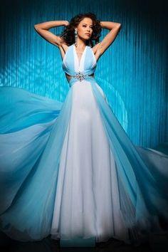 [119.62€] Abito Da Ballo Principessa Spazzola Treno V-Scollo Elegante Naturale