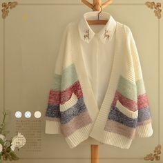 Cute harajuku stripe splicing sweater coat