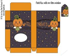 Printable Pumpkin Fairy Pinch Box With See Thru Window With Matching Tag