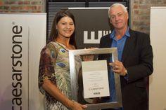 Charlotte van der Haer receiving one of her awards