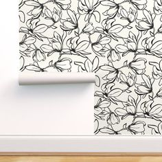 Magnolia Garden - Textured White & Black - Spoonflower Stick On Wallpaper, Perfect Wallpaper, Textured Wallpaper, Custom Wallpaper, Textured Walls, Magnolia Gardens, Prepasted Wallpaper, Magnolia Flower, Spoonflower Fabric