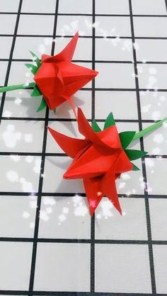 Rose Origami Video, Handmade Rose Origami Gift – Welcome My World Diy Origami, Origami Gifts, Origami Fish, Paper Crafts Origami, Origami Tutorial, Paper Flowers Craft, Origami Flowers, Flower Crafts, Diy Flowers