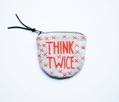 THINK TWICE/ fabric money wallet with hand printed by AIYshop