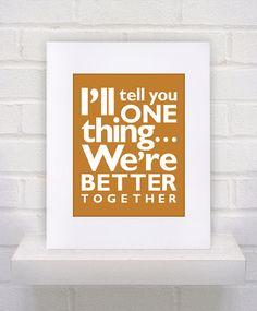 Jack Johnson Lyrics - Better Together  - 11x14 - poster print on Etsy, $10.00