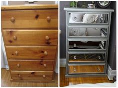 This is a plain ikea dresser refinished with mirror and Overlays