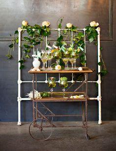 emerald botanical bar cart