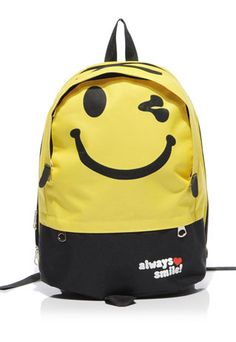 usd18.99/Cute Smile Face Print Mixing Color Canvas Backpack