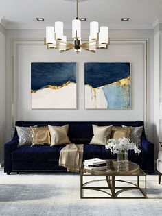 Blue And Gold Living Room, Blue Living Room Decor, New Living Room, Living Room Sofa, Living Room Designs, Living Room Canvas Art, Living Room Artwork, Dark Blue Rooms, Living Room Accessories