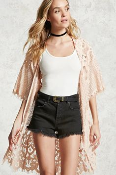 Forever 21 Contemporary - A woven cardigan featuring contrast lace and crochet construction with floral and geo patterns, short sleeves, a longline silhouette, and an open-front.