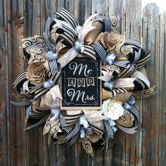 Deco Mesh Wedding Wreath Burlap Roses Swirls by GoblinsandHolly, $110.00