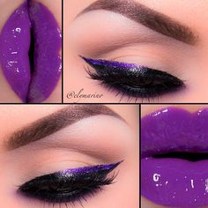 """liner is @Tarte Creative Marketing cosmetics MultipEYE lash enhancing liquid liner (love) with Lights, camera, action mascara and Makeup forever shadow #92 smudge underneath the lower lash line with @Lani Lee Stell Corrupt eyeshadow! Lashes/@houselashes """"Noir Fairy"""" lips/@doseofcolors gloss in """"Purple Fusion"""" Brows/@anastasiabeverlyhills brow powder duo in Ebony with Esp…"""