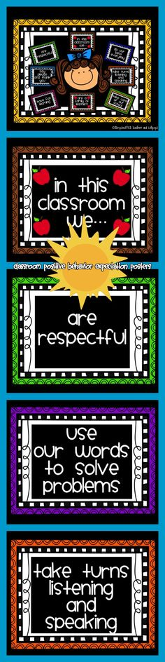 $1.00 Until July 30th Then $2.00 Classroom Positive Behavior Expectation Posters. This is just a sampling of the 23 posters included in the full product on TpT and TN. https://www.teacherspayteachers.com/Product/In-This-Classroom-We-Rules-or-Positive-Behavior-Statements-50-Off-For-3-Days-1934397 AND https://www.teachersnotebook.com/product/Joy/in-this-classroom-we-rules-or-positive-behavior-statements-50-for-first-3-days