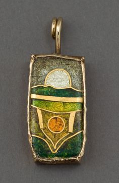 A WILLIAM HARPER GOLD CLOISONNÉ ENAMEL PENDANT ON ROPE CHAIN | Lot #68201 | Heritage Auctions