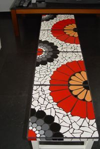 Mosaics on Ikea tablesMosaic table with fan shapesmosaic on the garden bench -cute table or desk idea.Items similar to Bright Spiral Mosaic Mirror on Etsy Mosaic Tile Art, Mirror Mosaic, Mosaic Crafts, Mosaic Projects, Stone Mosaic, Mosaic Glass, Glass Art, Stained Glass, Mosaic Designs