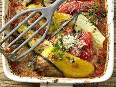 Ratatouille - smarter - gratiniert aus dem Ofen. Kalorien: 149 kcal | Zeit: 50 min. #vegetarian