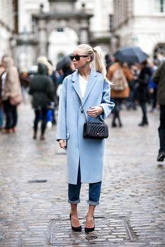 sky blue coat [via victoria tornegren] #SS14 www.blueisinfashiothisyear.com