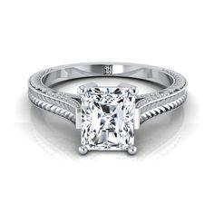 4ct Radiant Cut Diamond Vintage Antique Engagement Ring 14k White Gold Finish
