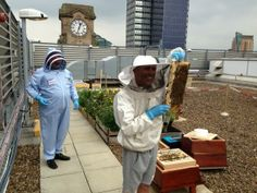 Happy Mondays legend Bez on The Printworks roof with the bees #Manchester