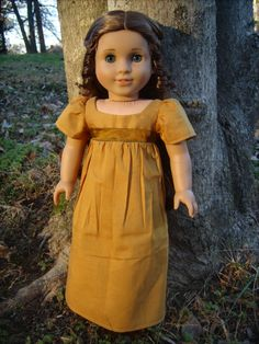 1810 Gold Regency Dress for American Girl Dolls - by Morgan May @ Stardust Dolls