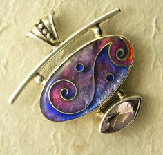 Cloisonne Enamel Pendant with Lily of France Amethyst - French Lilac