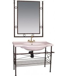 wrought iron bathroom furniture and mirror set 80cm washbasin