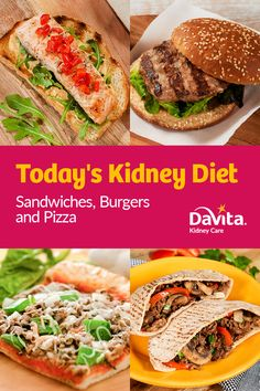 Sandwiches AND burgers AND pizza recipes? Our newest cookbook has it all! Davita Recipes, Kidney Recipes, Diet Recipes, Pizza Recipes, Diabetes Recipes, Recipies, Healthy Kidney Diet, Healthy Kidneys, Kidney Health