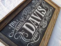 Mr & Mrs Custom Wedding Chalkboard Sign by WordforWordchalkart