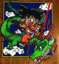 plantilla del cuadro de son goku dragon ball nº 5 hama beads