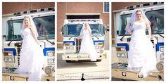 Firetruck with the Bride in Dallas, NC.  www.CamparaPhotography.com