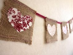 Bunting made from upcycled coffee sack jute and vintage fabric