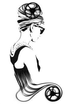 Audrey Hepburn -   filme de 8mm reciclado sobre tela