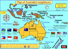 Map of Australia's neighbors. Geography For Kids, Geography Lessons, Teaching Geography, Primary Teaching, World Geography, Primary Education, Social Studies Curriculum, Teaching Social Studies, Primary History